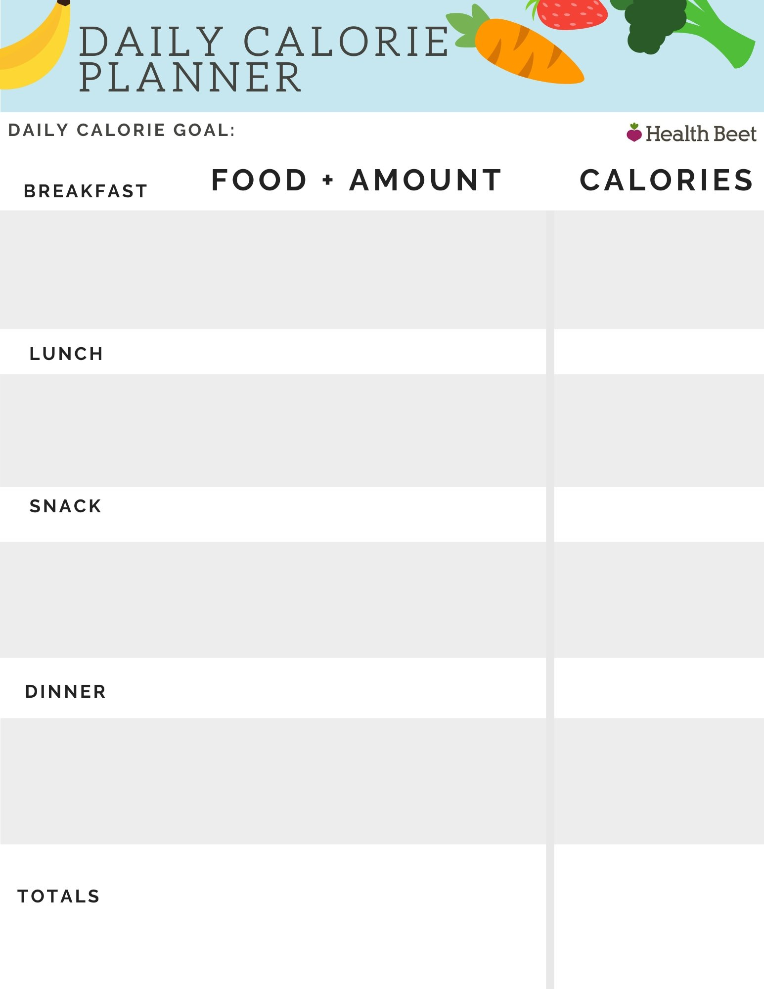Daily calorie planner for weight loss