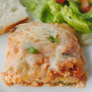 square BEST low calorie zucchini lasagna
