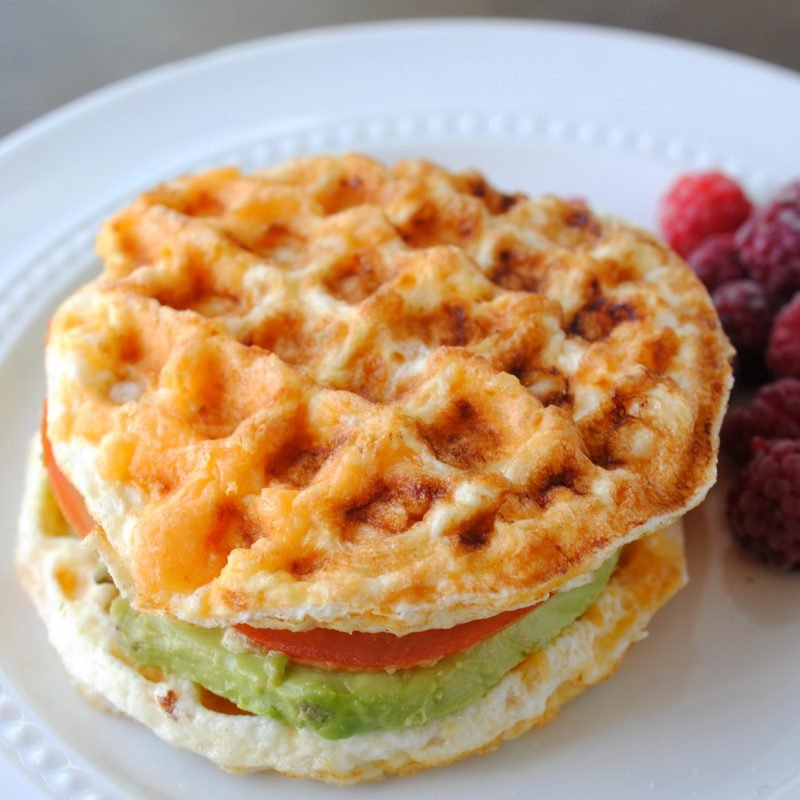 chaffle sandwich with avocado and tomato
