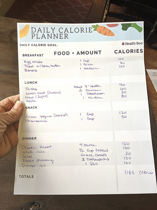 free printable calorie counting planner