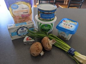 ingredients for healthy cheesy chicken dip
