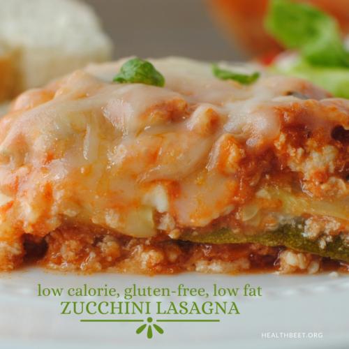 low fat low calorie zucchini lasagna square