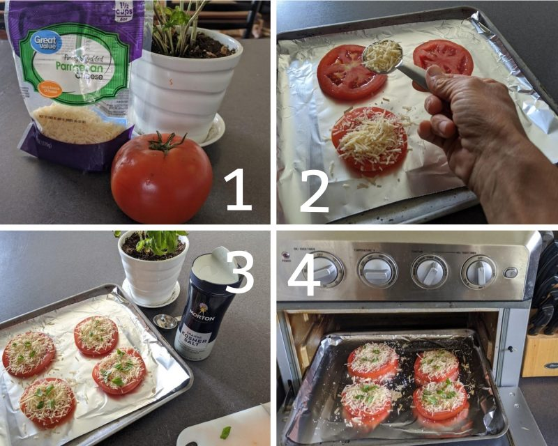 recipe steps for making healthy low calorie baked parmesan tomatoes