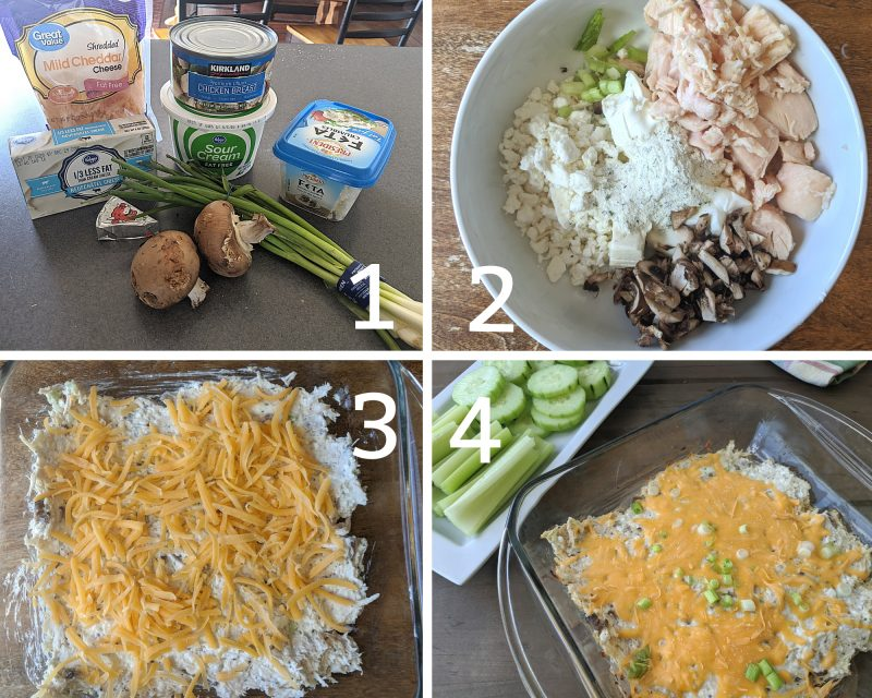 steps and ingredients for low fat cheesy chicken dip