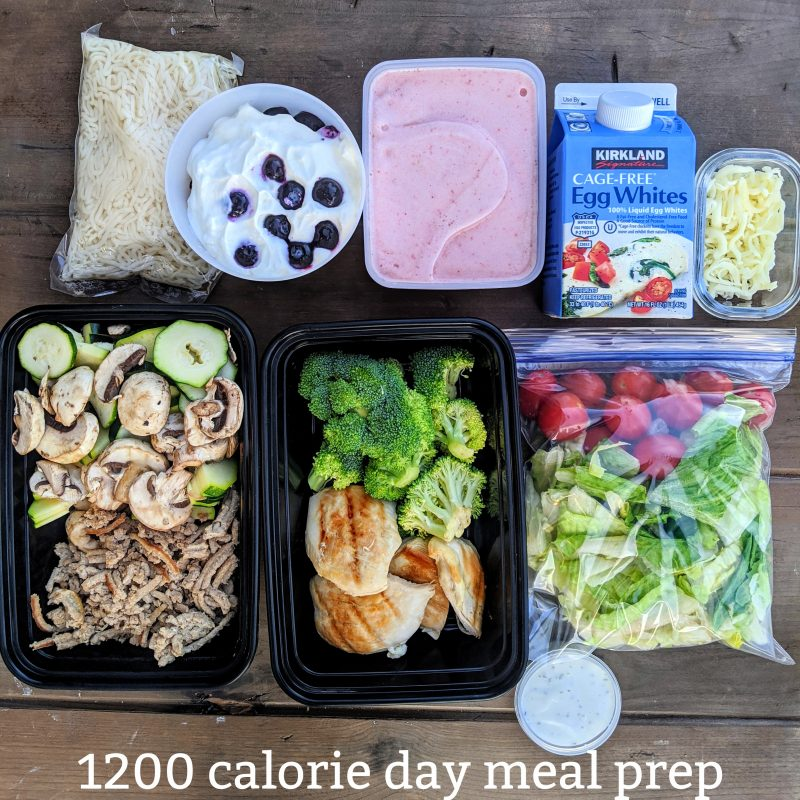1200 calorie day meal prep with text