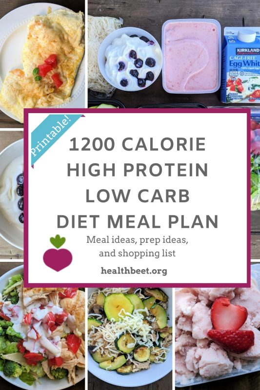 1200 calorie high protein low carb meal plan for pinterest