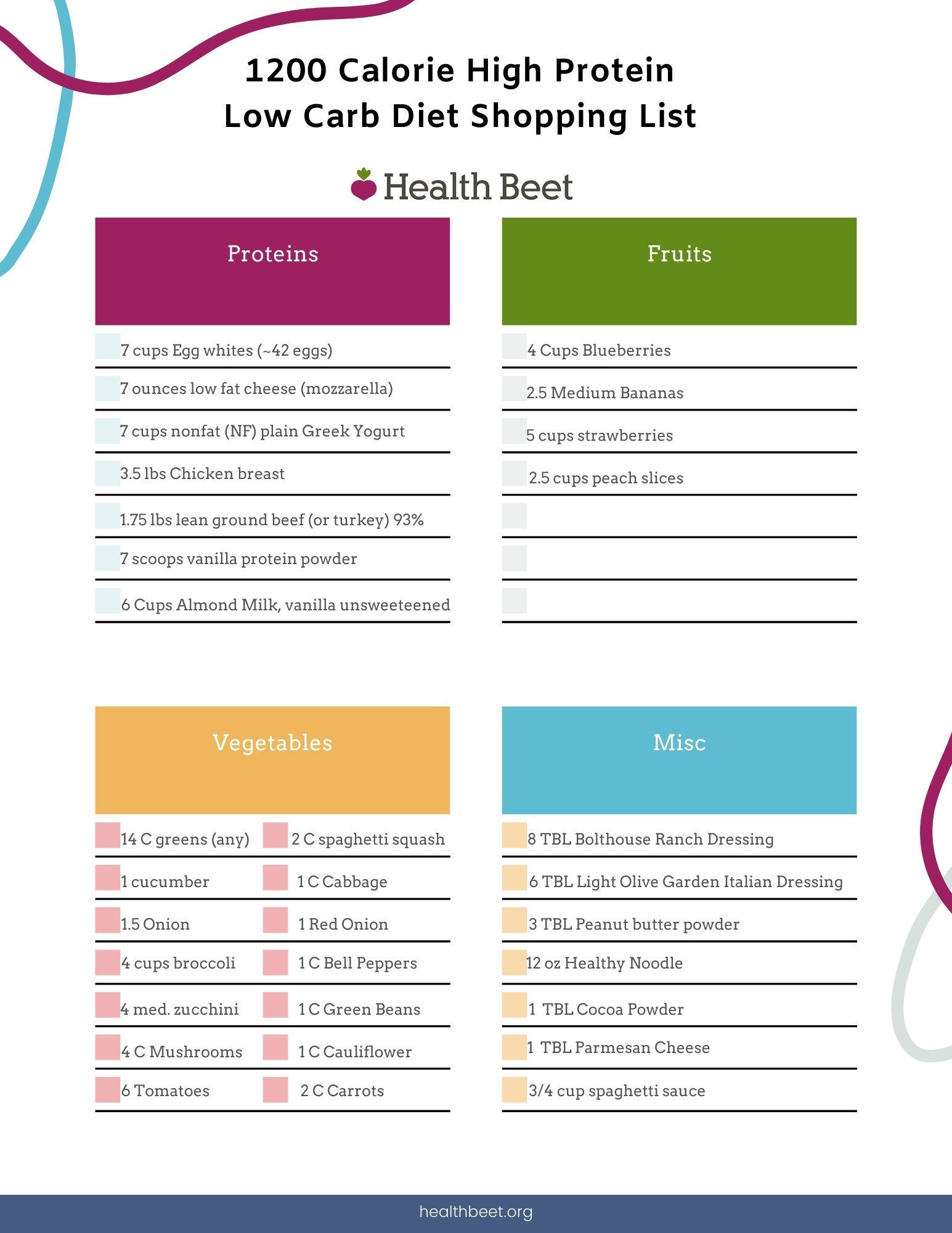 1200 calorie high protein meal plan shopping list from health beet