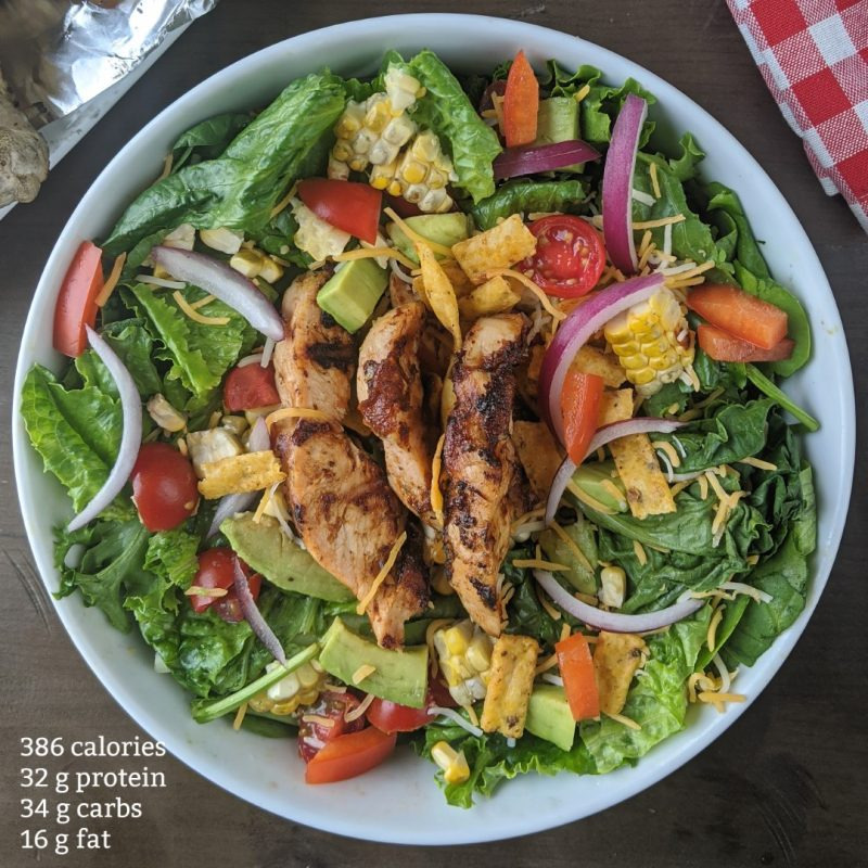 BBQ Chicken salad with updated nutrition information for calories and macros (Large)