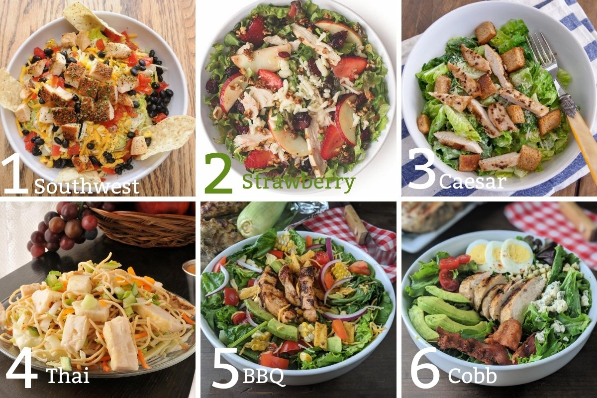 Grilled chicken salads 1-6