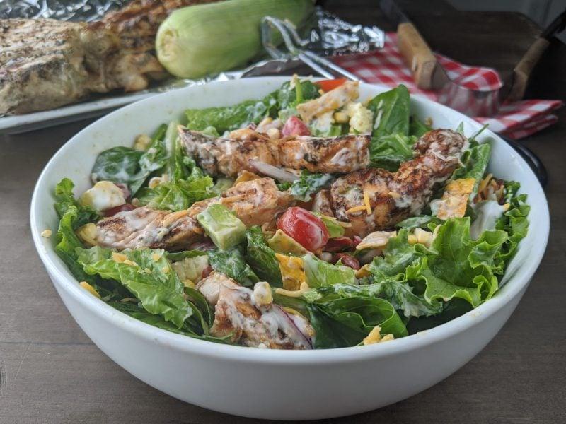 Mixed grilled bbq chicken salad