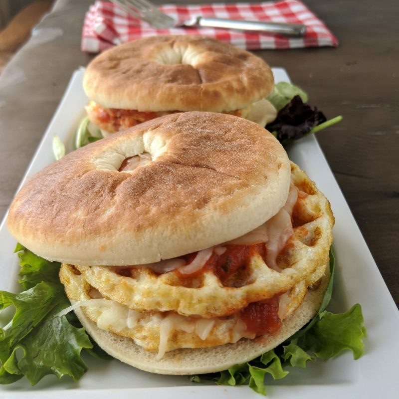double chicken chafflel bagel sandwich