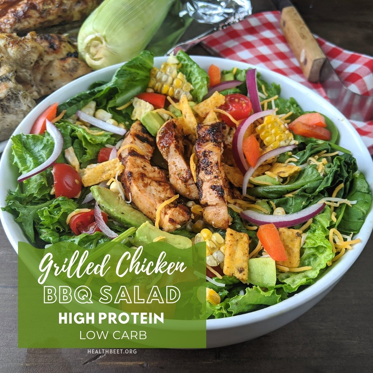 high protein low carb grilled chicken BBQ salad