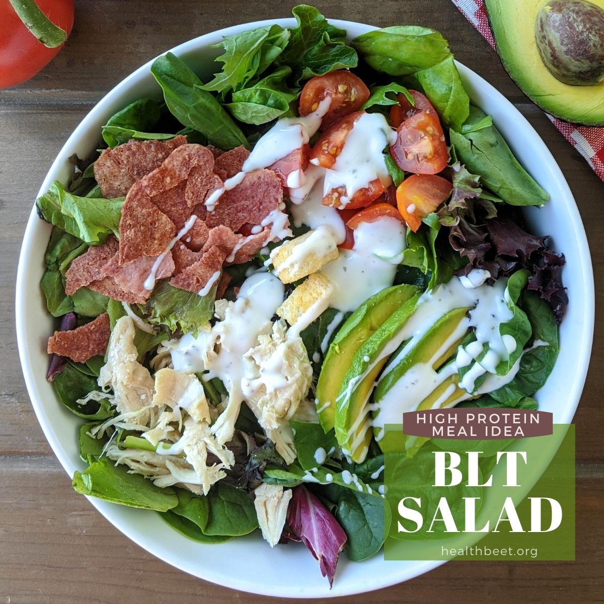 high protein meal idea in just 5 minutes BLT salad