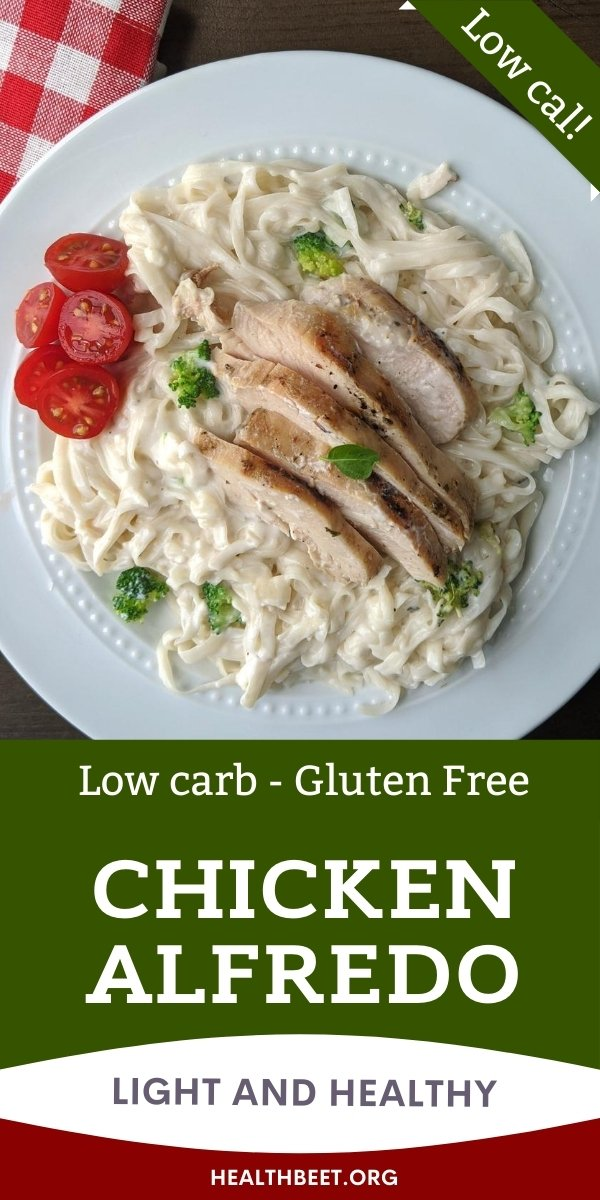 Low calorie low carb gluten-free chicken alfredo pasta