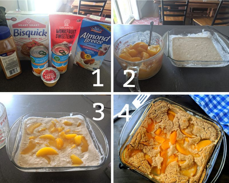 steps for making low calorie healthy peach cobbler