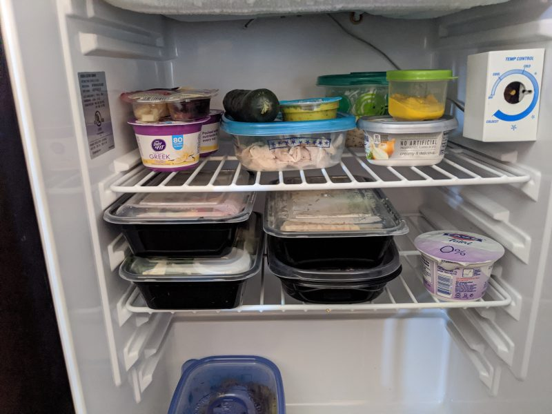 storing prepped foods in the hotel fridge
