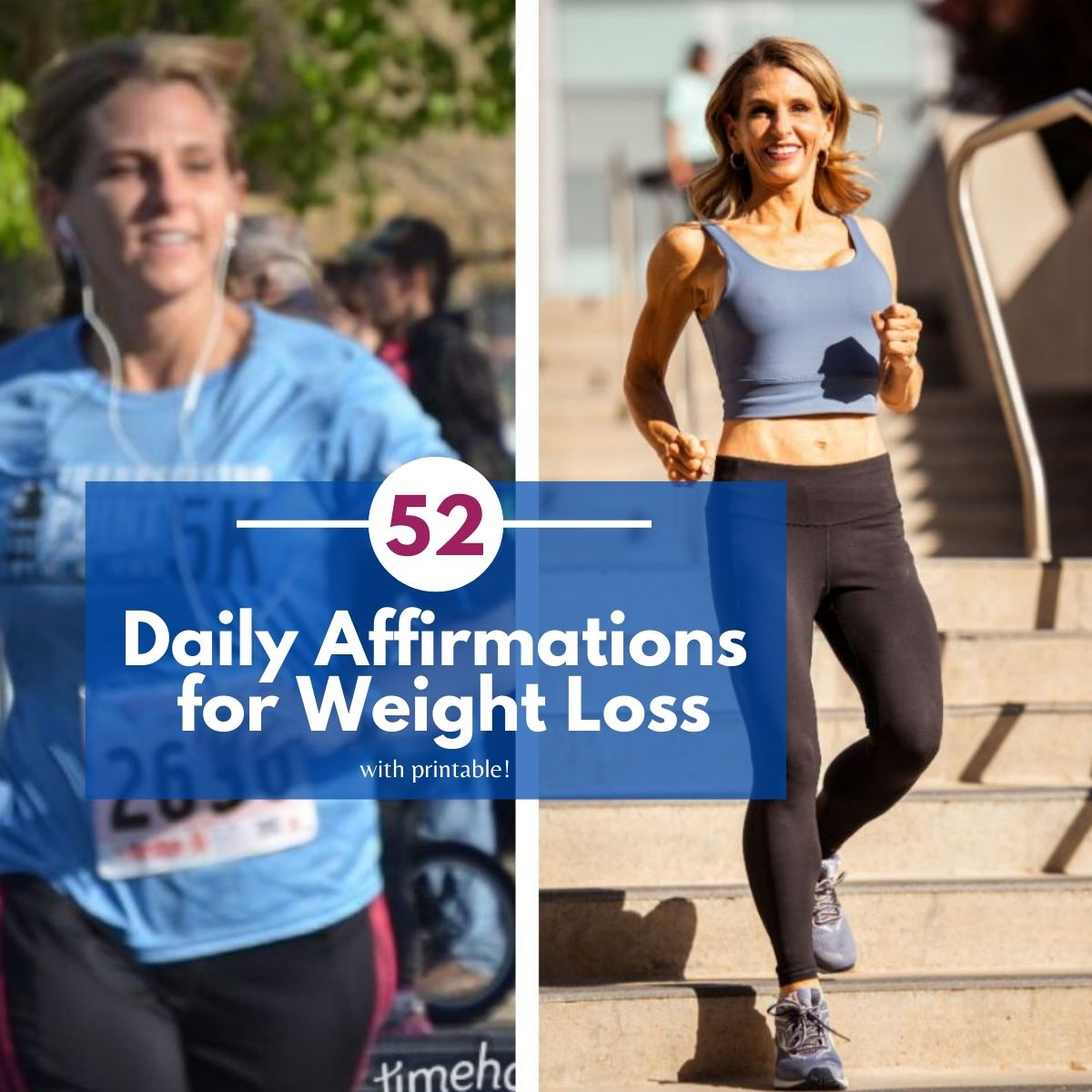 52 daily affirmations for weight loss with a printable thumb