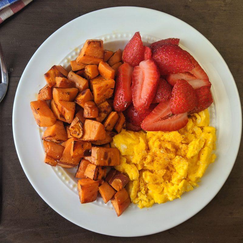 Bright line breakfast recipe scrambled eggs sweet potato and strawberries (1200)