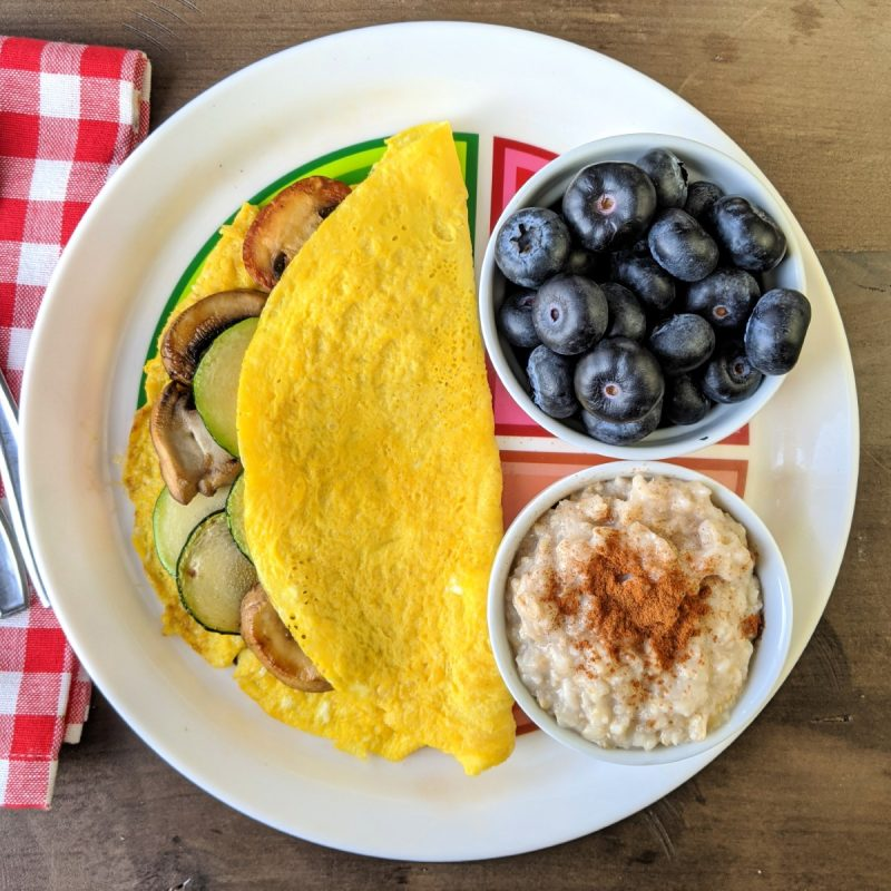 Bright line eating breakfast eggs oats and blueberries