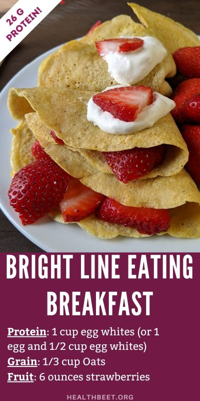 Bright line eating breakfast idea crepes with strawberries