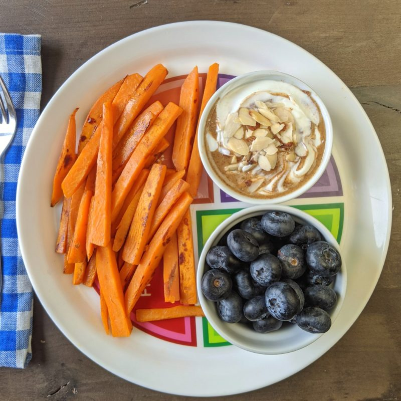Bright line eating breakfast with yogurt almond butter sweet potato and blueberries