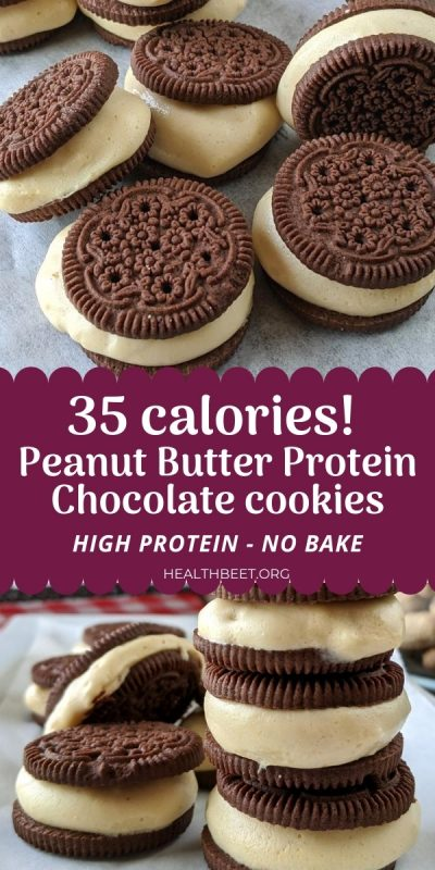 delicious low calorie chocolate peanut butter cookie sandwiches