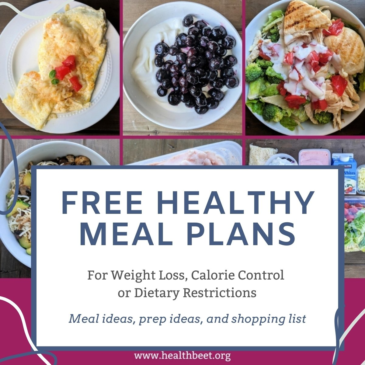 free healthy meal plans for weight loss or calorie counting