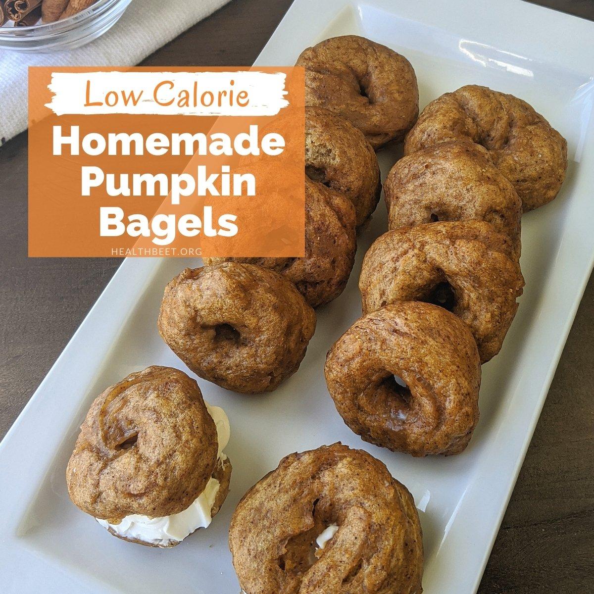 low cal homemade mini pumpkin bagels
