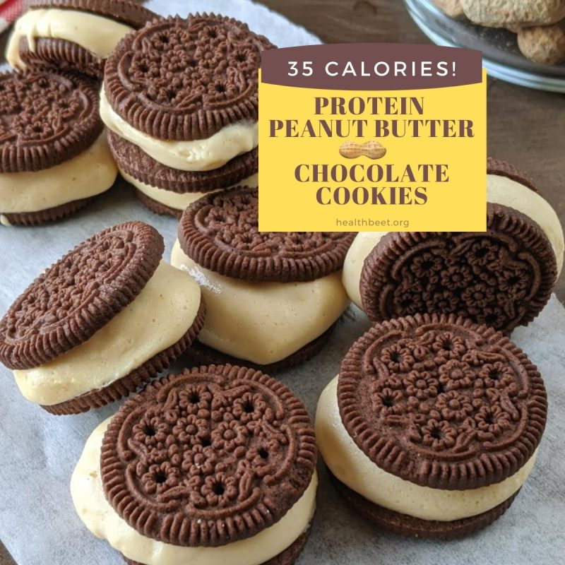 protein no bake peanut butter chocolate cookie sandwiches square