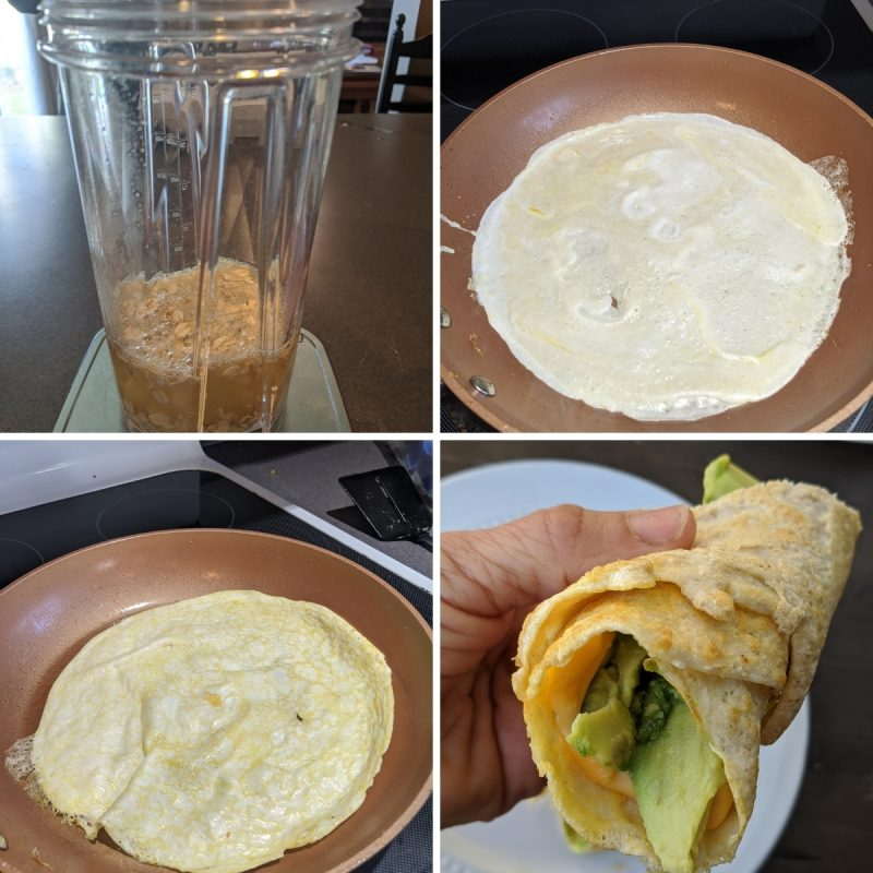 steps for making gluten free tortilla egg and oat wraps