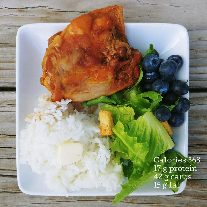 BBQ chicken rice salad blueberries on balanced plate