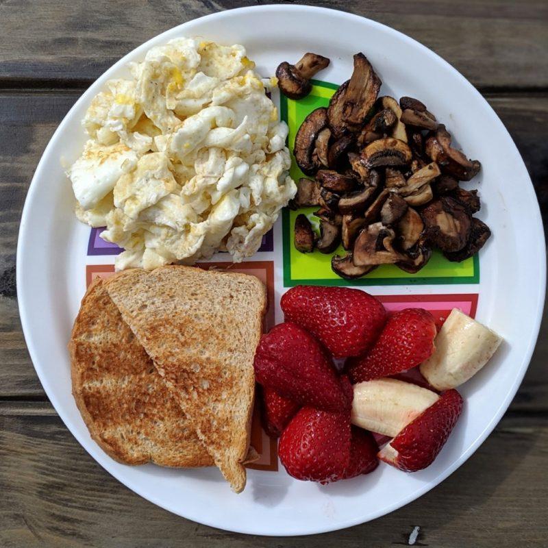 Breakfast plate eggs toast mushrooms berry banana (Large)