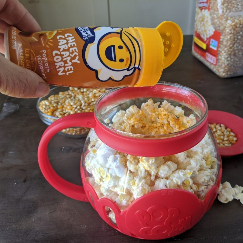 Delicious cheesy caramel and popcorn healthy