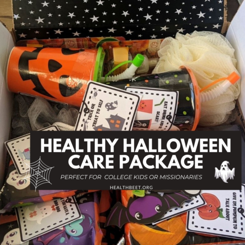 Healthy Halloween Care package perfect for college kids or missionaries