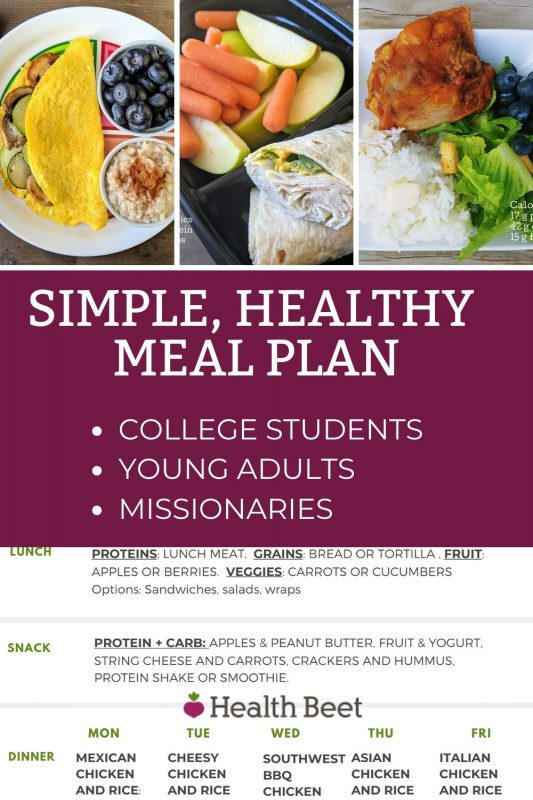 Simple healthy meal plan for young adults college students or missionaries