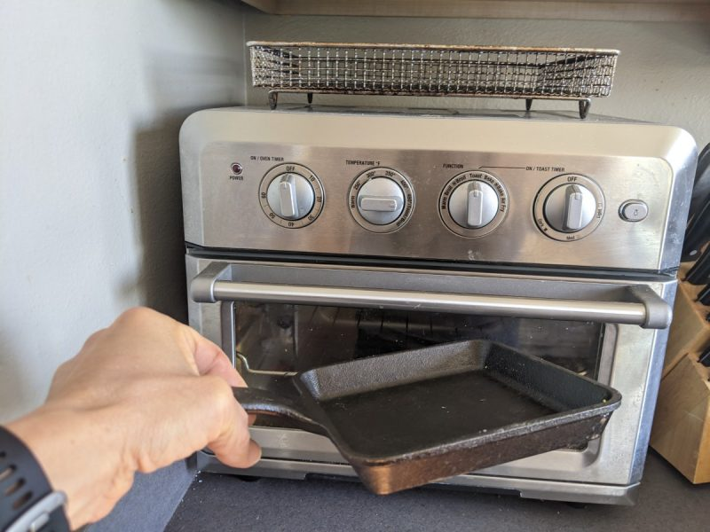 cooking in toaster oven with mini skillet