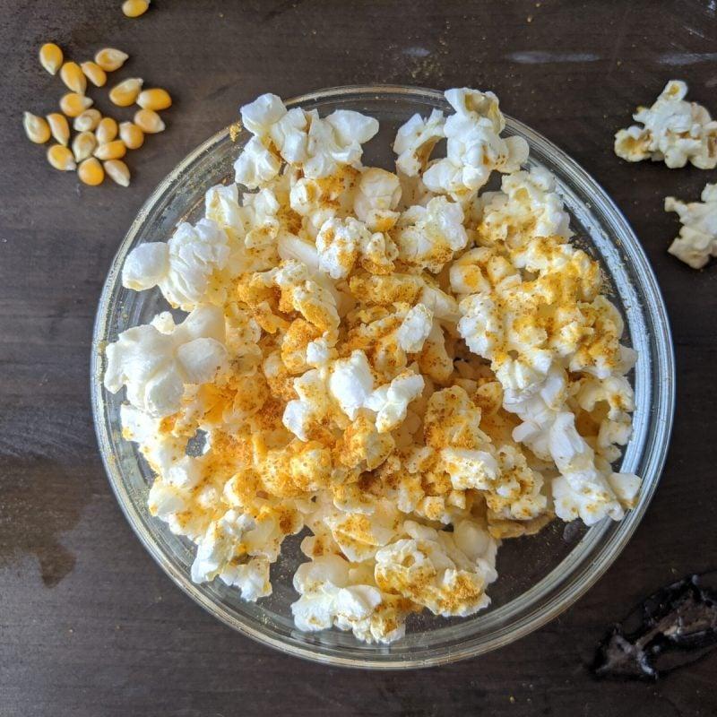 healthy homemade single serving microwave popcorn with kernel seasonings