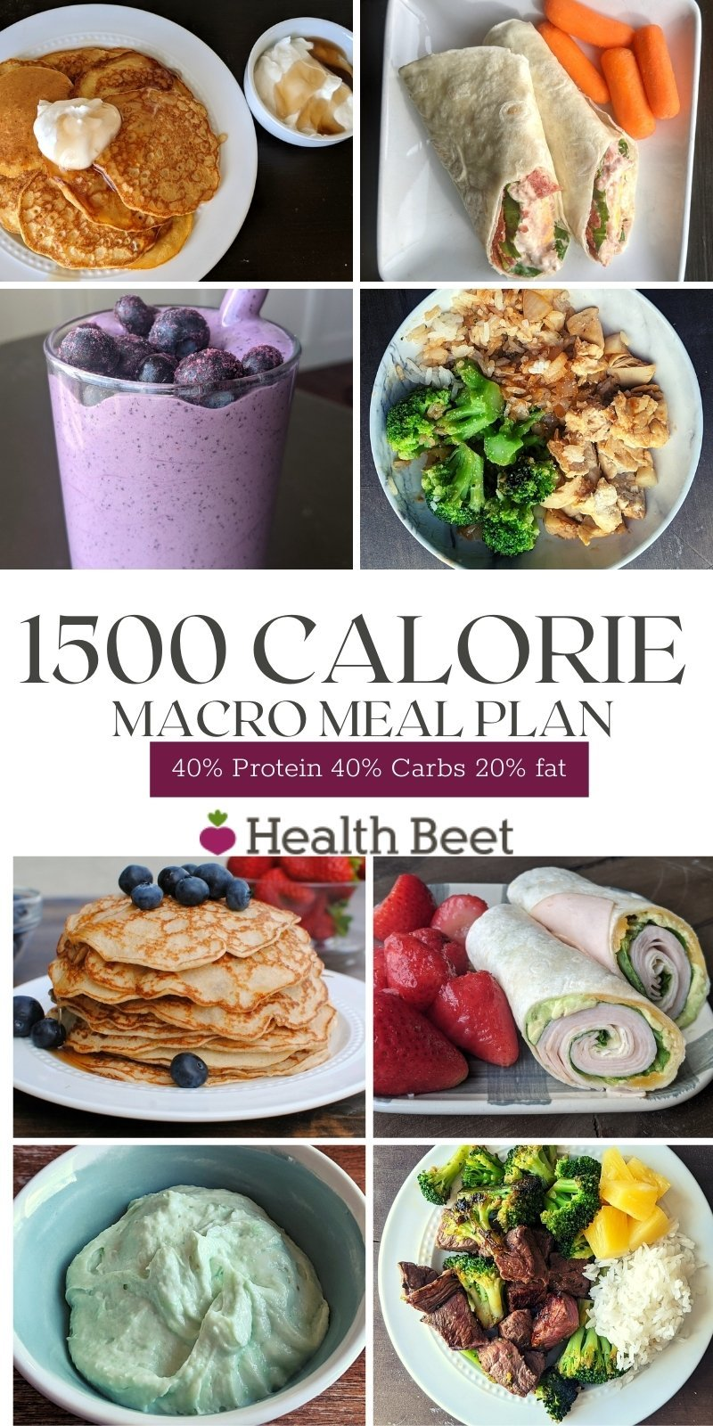 1500 calorie macro meal plan with free printable for shopping list and recipes