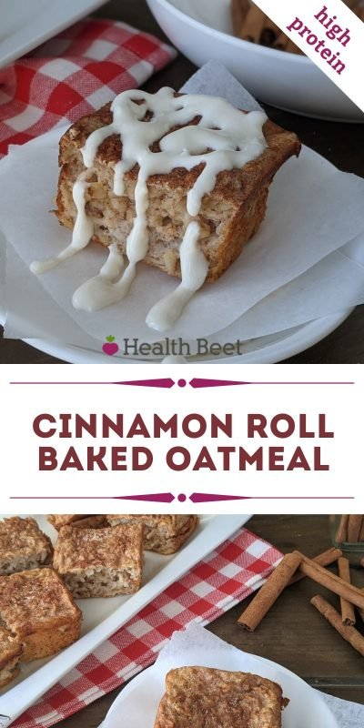 Healthy Cinnamon roll baked oatmeal for 52 calories