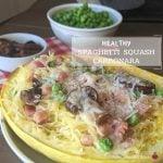 Healthy ham parmesan and peas spaghetti squash carbonara