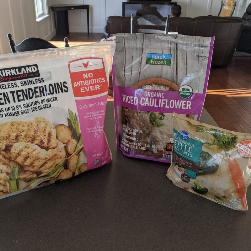 Ingredients for low calorie chicken and rice bowl