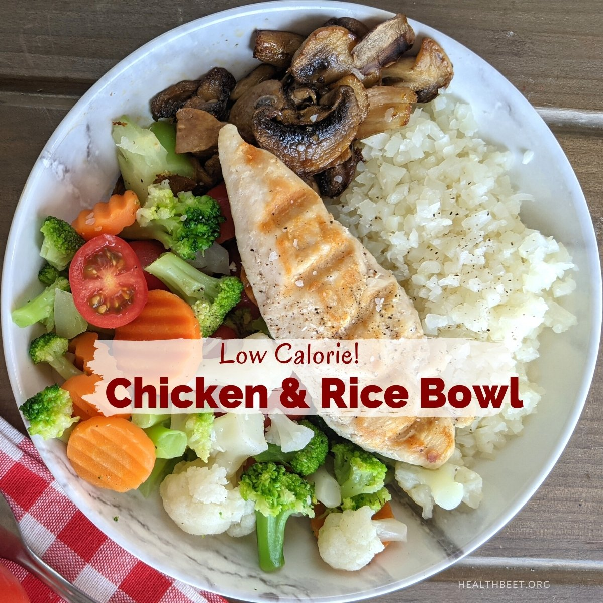 Low calorie chicken and cauliflower rice bowl