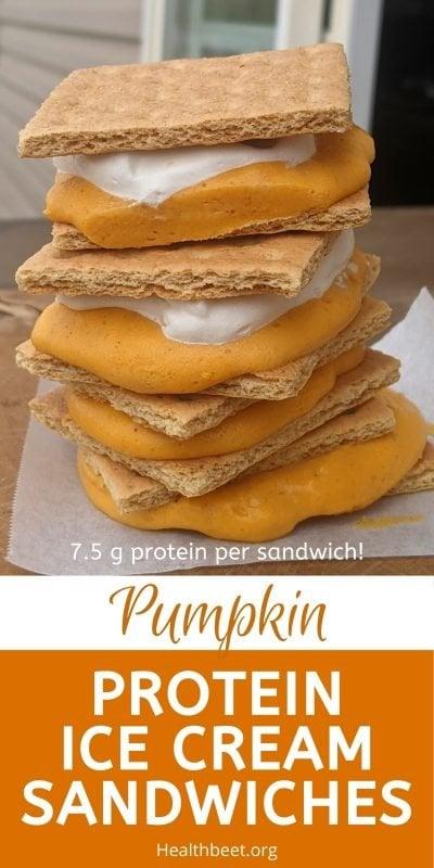 Protein pumpkin ice cream fluff sandwiches