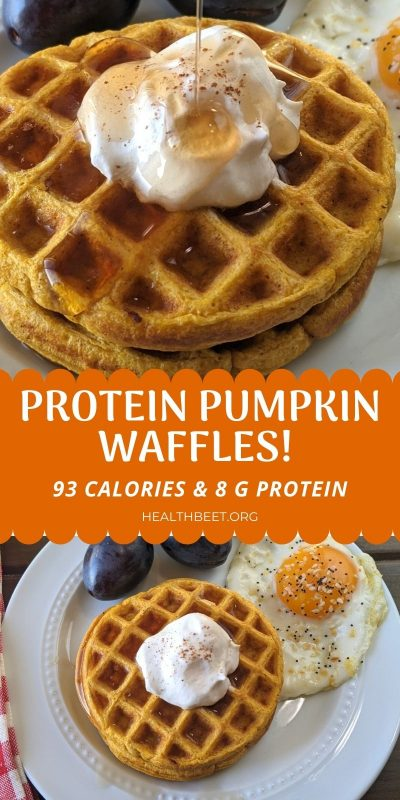 Protein pumpkin waffles with 8 grams protein and 93 calories