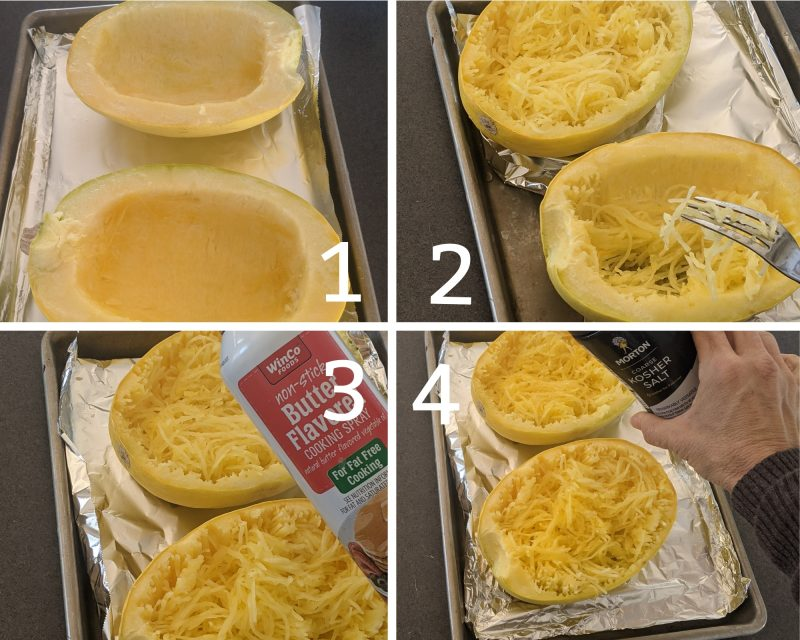 Recipe steps for spaghetti squash carbonara 1-4