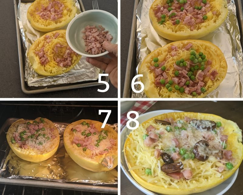 Recipes steps for spaghetti squash carbonara 5-9