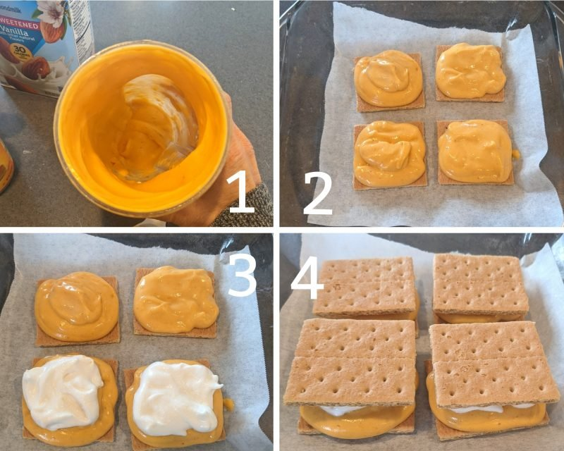 Step by step tutorial for making protein pumpkin Ice Cream Sandwiches