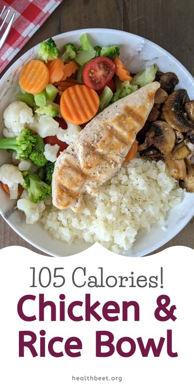 Very low calorie chicken and rice dinner bowl