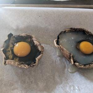making egg portabella cups