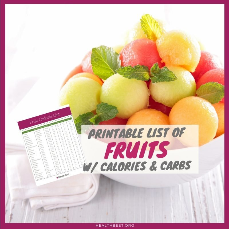 printable list of calories and carbs in top 28 fruits